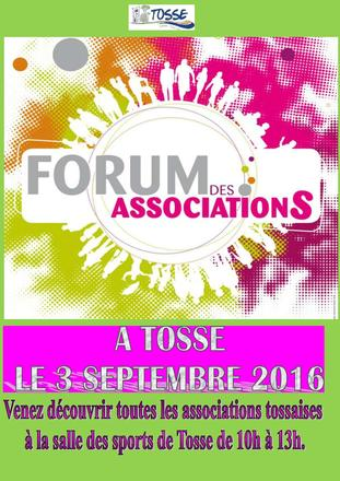 Forum des associations de Tosse 2016 le 3 septembre 10h-13h